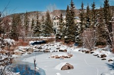 The Blue River runs through Breck and freezes during the winter.