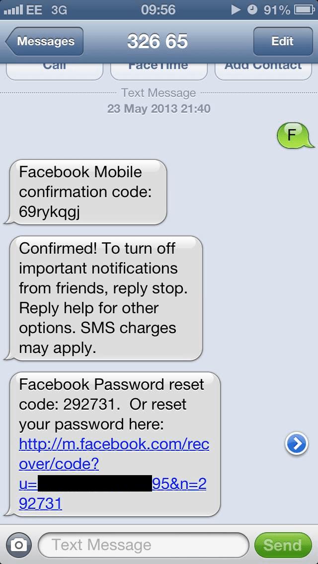 Facebook Code Text Confirmation 32665