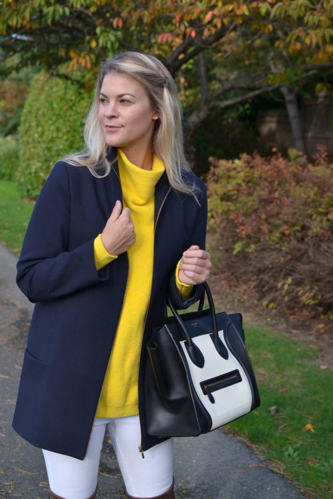blue raincoat yellow sweater