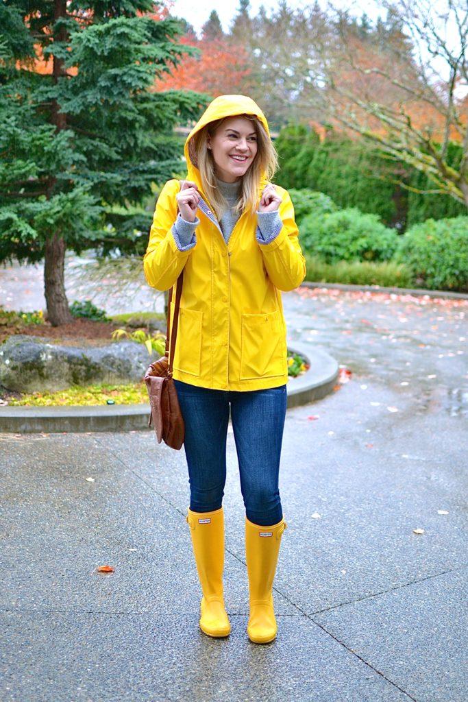 yellow raincoat and hunter boots