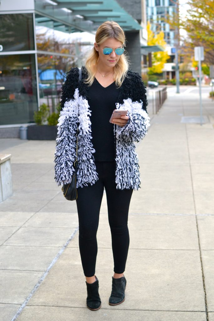 shaggy knit coat j brand jeans