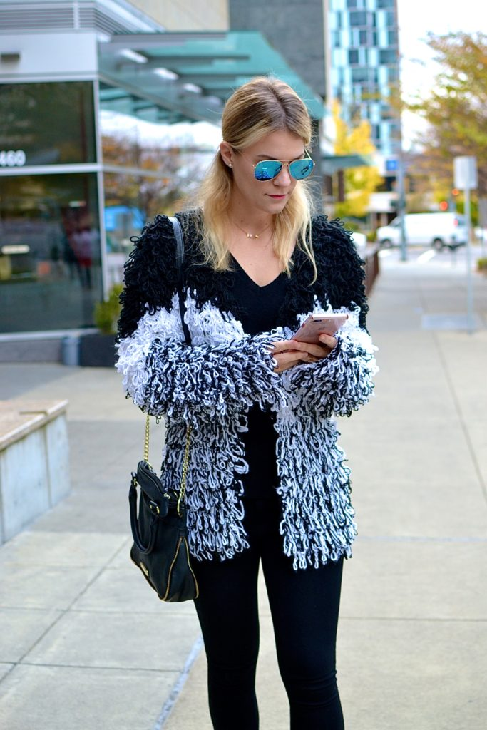 shaggy knit coat outfit