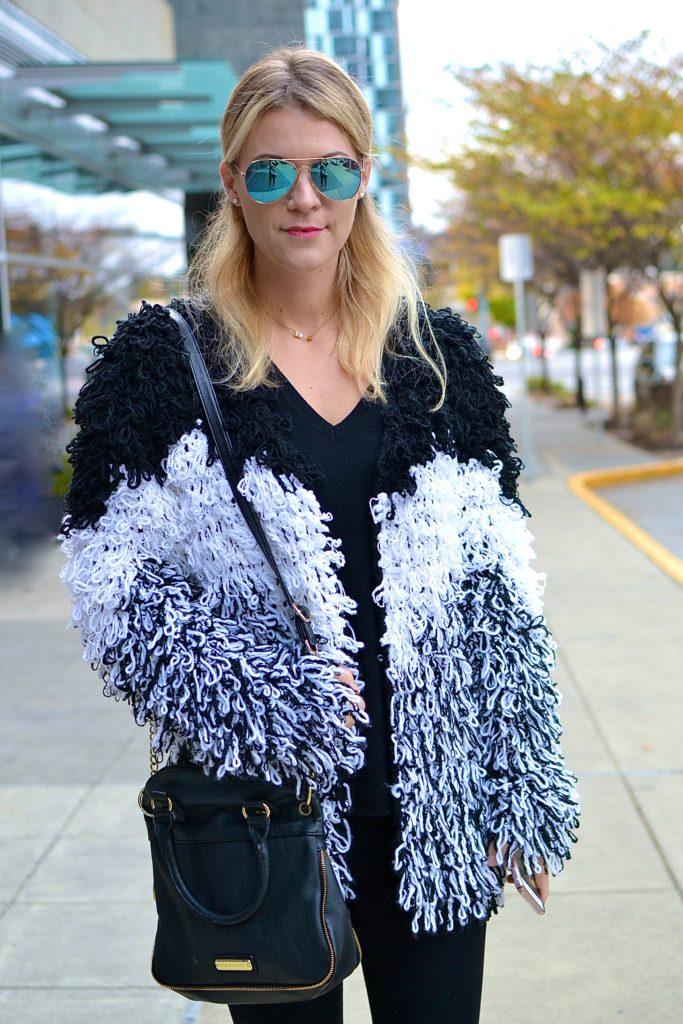 shaggy knit coat