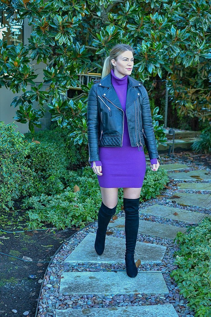 over the knee boots and leather jacket