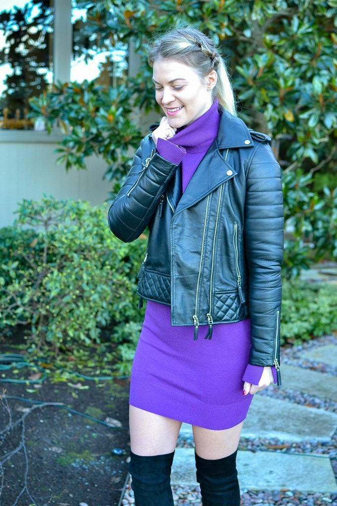 sweater dress and leather jacket
