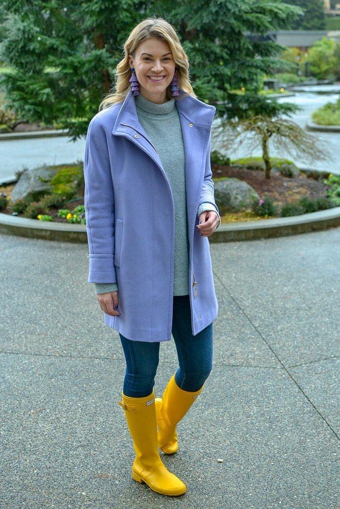 Purple Coat yellow hunter boots