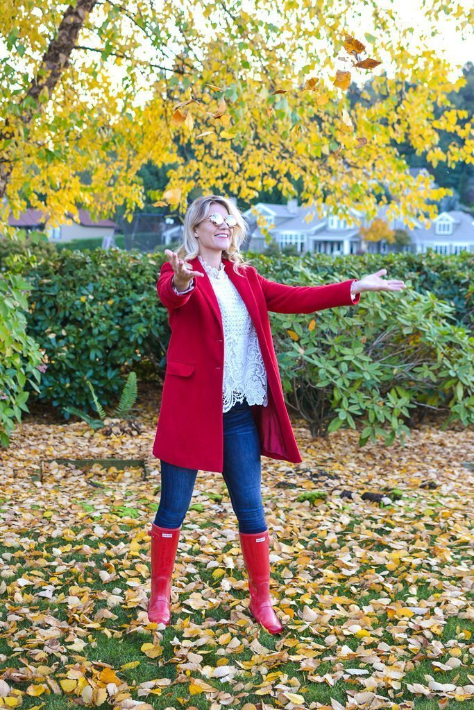 red coat fall leaves