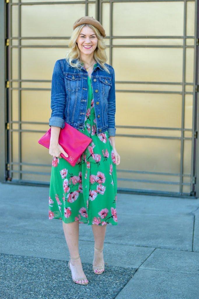 floral dress who what wear denim jacket