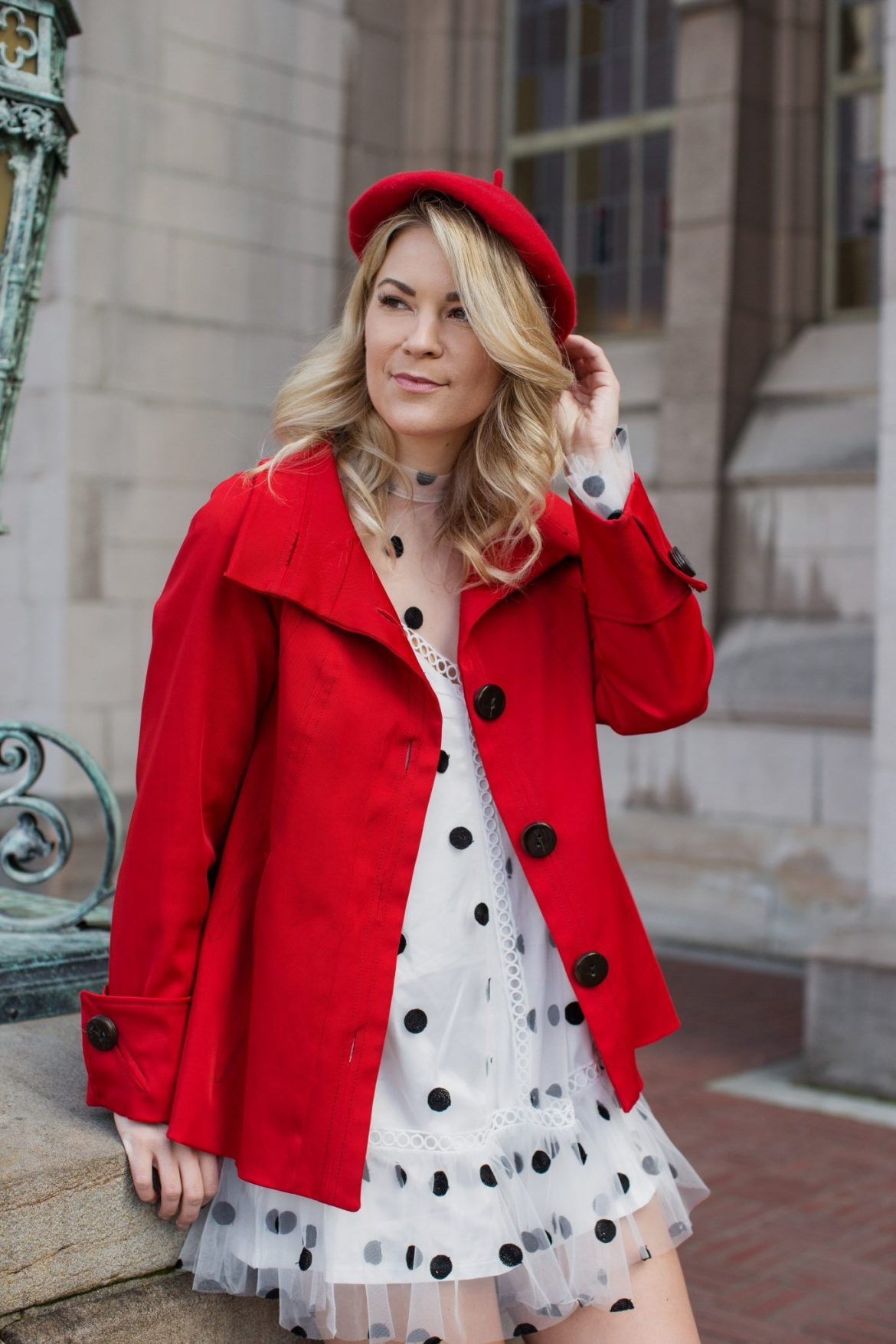 polka dot dress red beret