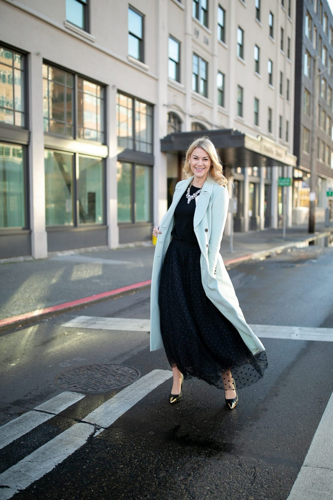 tulle skirt and long coat atlantic pacific halogen