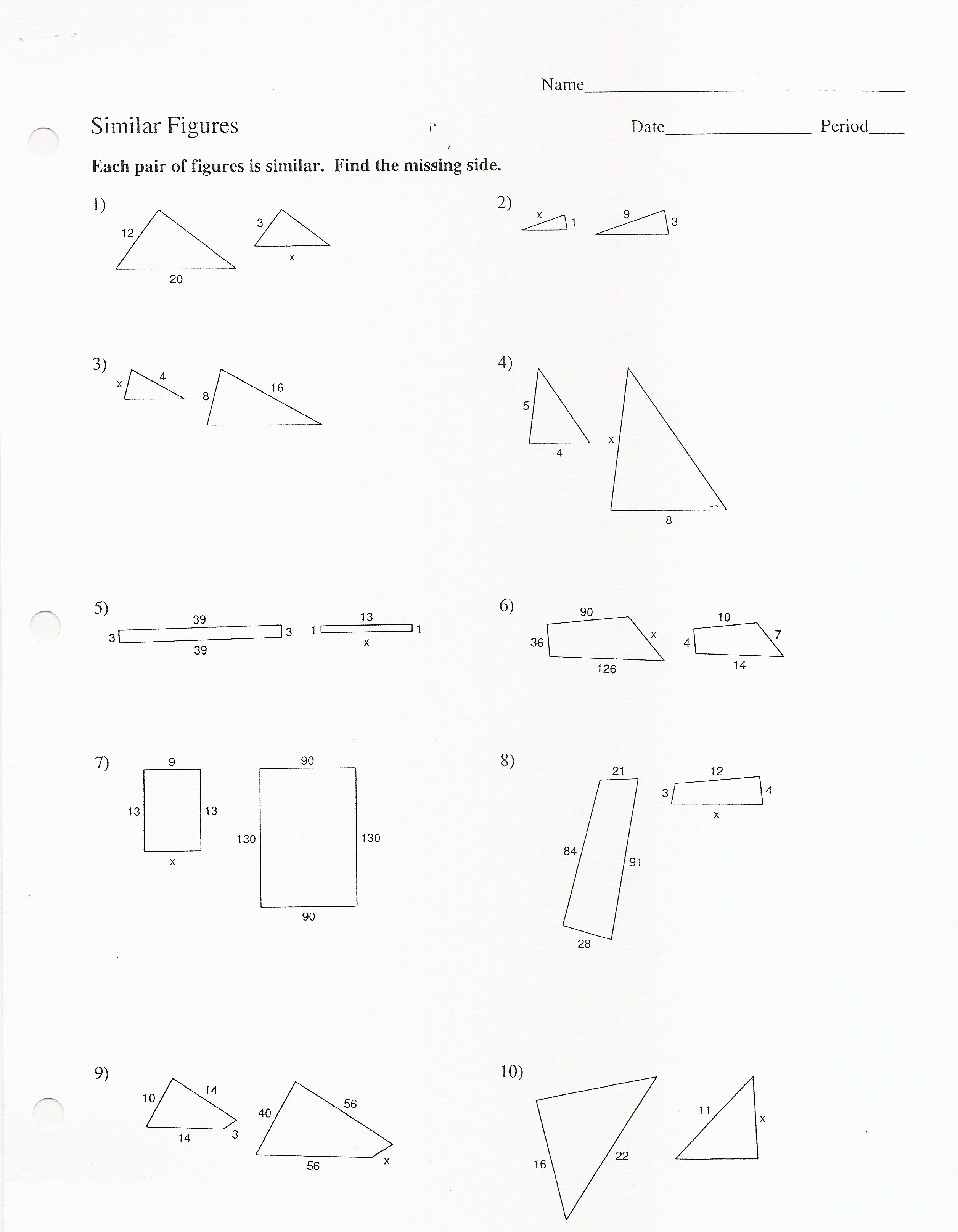 Basic Proportions Worksheet