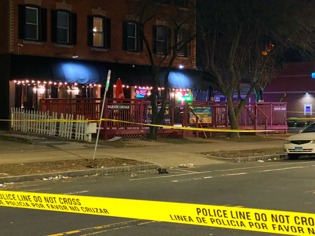 In this photo provide by Channel 3 Eyewitness News (WFSB-TV), a view of the scene of a shooting at the Majestic Lounge, in Hartford, Connecticut, Sunday, Feb. 16, 2020. Multiple people were shot at a Connecticut nightclub, leaving one person dead, police said early Sunday. Preliminary information indicated four others were wounded, Hartford police Lt. Paul Cicero told The Associated Press.