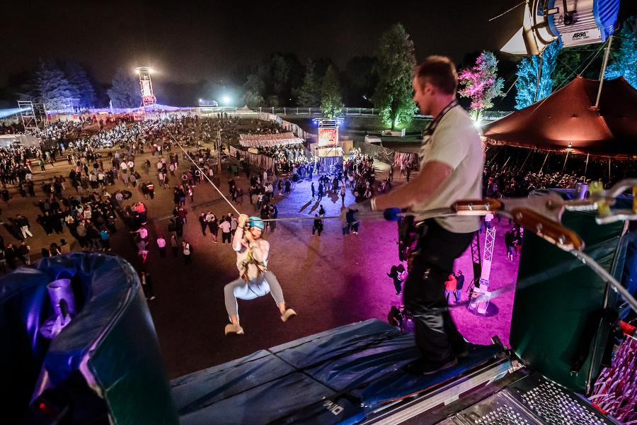 Tyrolienne au festival Woodstower