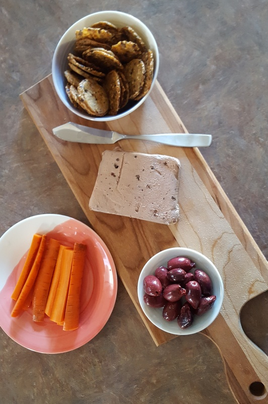 Snacks with hubs: Duck Liver Mousse from Peasant Cheese (the best), homemade pickled carrots, & olives.