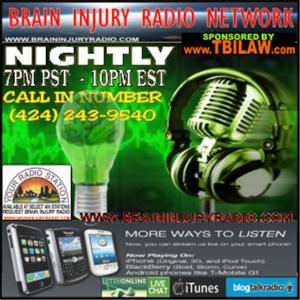 Brain Injury Radio Network image with phone number and show times