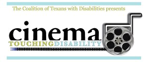 Cinema Touching Disability film festival logo with a wheelchair that has an old-fashioned film reel in place of the wheel.