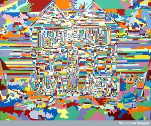 The colors in this painting are bright and highly saturated blue, green, pink, burgandy, orange, yellow, and red. There are many shades of each color. The painting style looks like everything in the picture is made from cut-out paper or puzzle pieces. Everything fits together perfectly but is very jarring to look at. The painting is of a barn. Visual confusion, overlaying and flattening of images, pulsating kaleidoscopic colors.