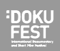 Dokufest International Film Festival logo in white text with gray background