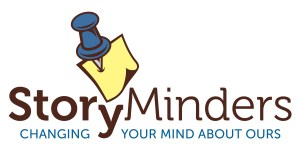 "The StoryMinders logo with the tagline ""Changing your mind about ours"""