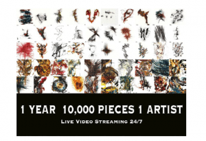 "A flyer showing a grid of 50 square portions of Kris Haas's abstract paintings and the words ""1 year 10,000 pieces 1 artist Live video streaming 24/7"""