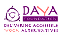 The logo has purple and orange text, DAYA Foundation Delivering Accessible Yoga Alternatives