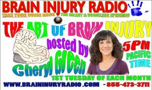 The Art of Brain Injury Radio Show Banner shows a photo of a woman with brown hair and a purple shirt, smiling at the camera. There is a sketched brain in the shape of a heart and Brain Injury Radio Network logos. Show details are written in multiple bright colors and a bubbly 1970s font.
