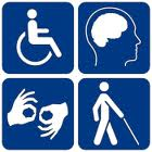 Four part disability access icon in blue and white showing representations of physical impairment, deafness and hard-of-hearing, blind and visually impaired, and intellectual or cognitive impairment.
