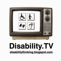 Disability.TV podcast logo with podcast name and disabilitythinking.blogspot.com at the bottom. Above the text is an old 1970s style TV with dials. On the TV screen is a white background and four access icons in little squares, symbols for wheelchair access, vision access,  deaf access, and hard-of-hearing access.
