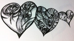 Three hearts in black ink, each filled with swirling shapes, lines, and textures