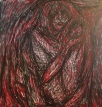[Image description: A sketch of a woman huddled with her knees pulled to her chest. She looks frightened. The entire canvas is covered in thick, dark, red and black lines that are either hiding her or trapping her.]
