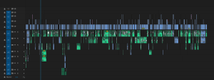 "Screenshot of the ""Who Am I To Stop It?"" timeline in editing software showing colored bars that represent the film's scenes on three tracks of video and eight tracks of audio"