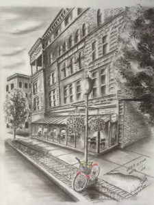 Detailed charcoal sketch of Spot Coffee shop with brightly colored bike locked to a lamp post.