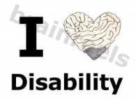 """I heart disability"" where the heart is a heart-shaped brain."