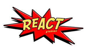 ReAct Studios logo in red and yellow in comic book style.