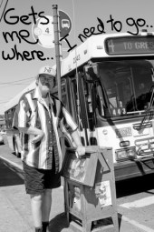 "Black and white of Keith Standing at a bus stop as the #4 pulls up. Text says ""Gets me where I need to go."""