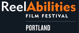 ReelAbilities Portland Film Festival logo in dark gray with white and orange text.
