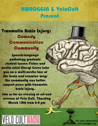 "NW NOGGIN flyer for ""Traumatic Brain Injury: Comedy, Communication, Community"" has a brain in a top hat walking down the street in colorful pants, about to slip on a banana peel."