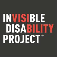 "Invisible Disability Project logo. Text in red and white, highlighting ""visi-bility""."