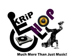 Krip Hop Nation: Much More Than Just Music! A breakdancer next to the universal accessibility logo. In the logo, the person's body forms the K in Krip and H in Hop. The O is a speaker. Inside the wheel is a turntable.
