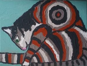 A stylized red, white, gray, and black classic tabby cat sits on his rump with back legs extended, leans over, and stares intently at his tail in focused stillness.