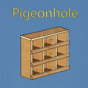 """A grungy blue background with """"Pigeonhole"""" in yellow letters. Below the text, a plywood box with nine cubby holes."""