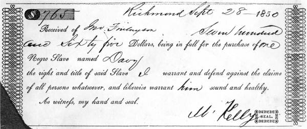Receipt for sale of a slave named Davy, tracing slave ancestors using DNA
