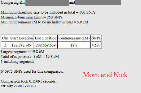 example of dna match who shares two segment with me, bigger one with mother than father