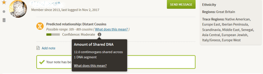 Example of low sharing third cousin dna match