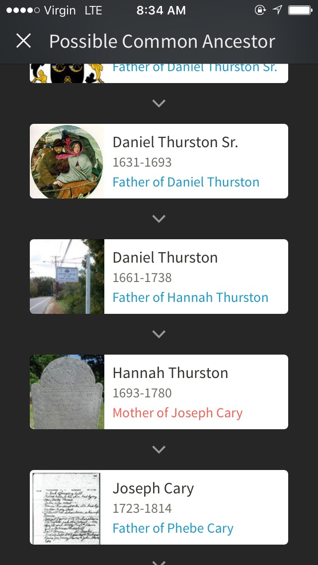 We are connected through my ancestor, Daniel Thurston