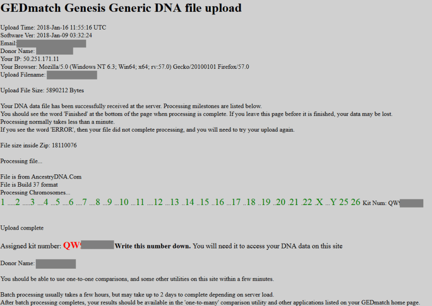 how do i know if my upload is complete on gedmatch genesis