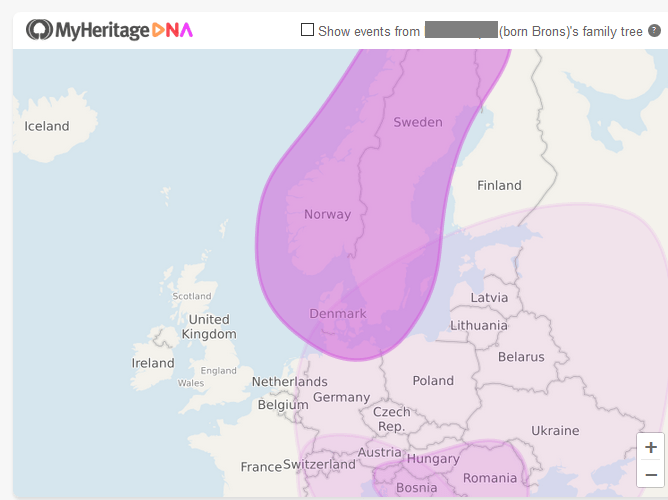 Which countries are in the Scandinavia DNA region on My Heritage