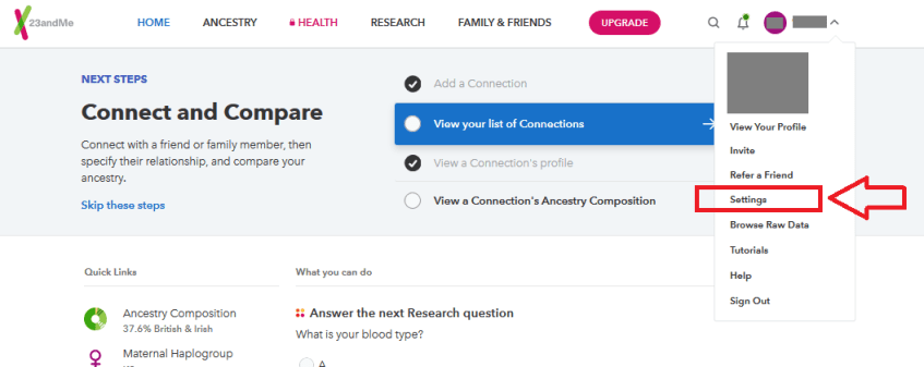 how to find 23andme test settings