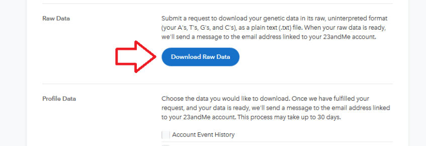 which 23andme data to download to upload to other sites