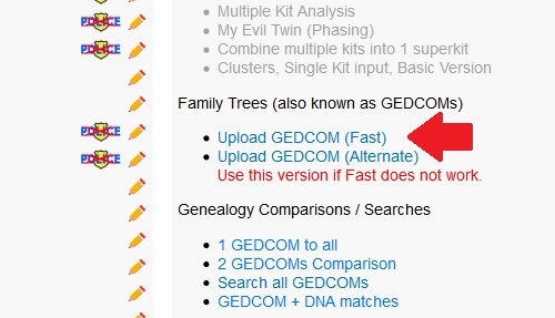 This image shows exactly where you should click to get started with your Gedmatch family tree upload